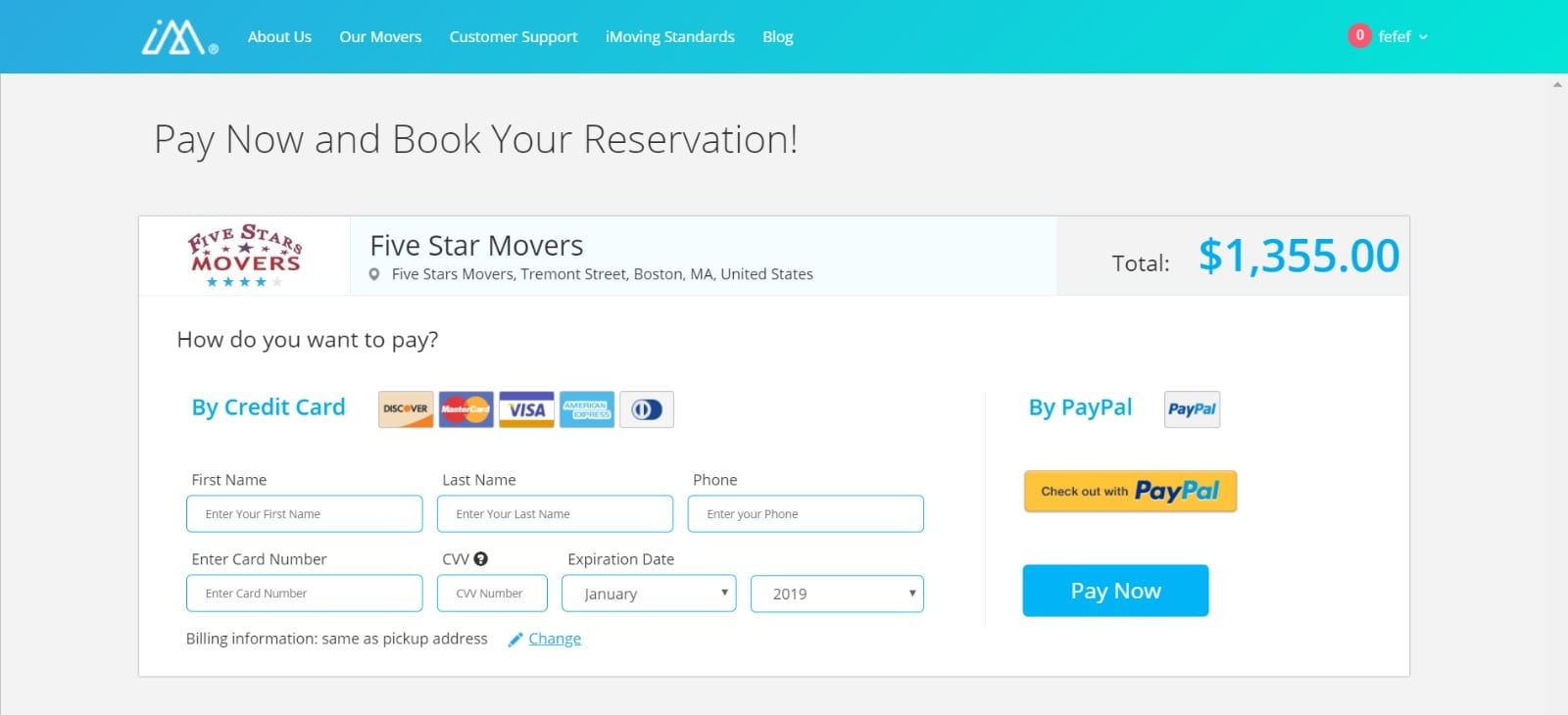 Pay and book your reservation